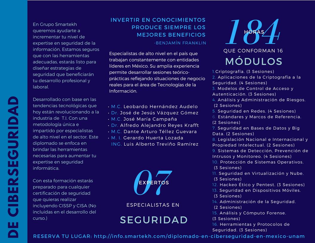Diplomado de Cyber Seguridad con la UNAM y Grupo Smartekh (2)