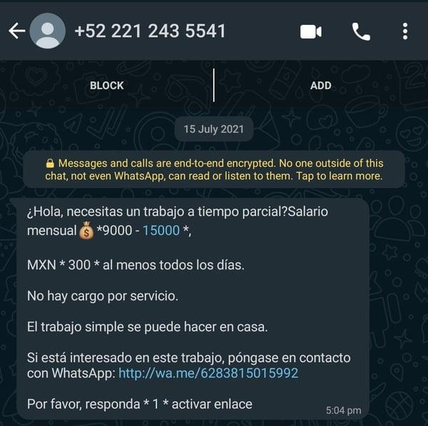 Mensaje de Phishing en WhatsApp